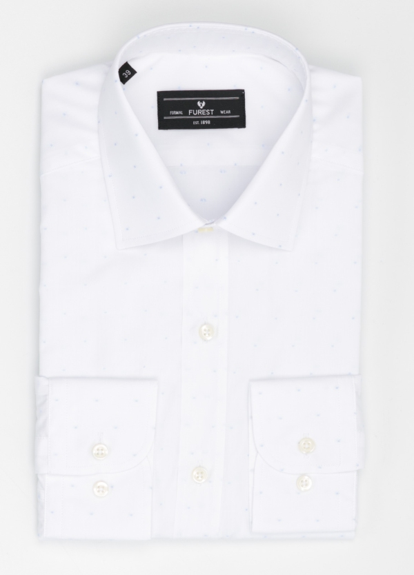 Camisa Formal Wear SLIM FIT cuello italiano modelo ROMA color blanco con micro dibujo color celeste. 100% Algodón.