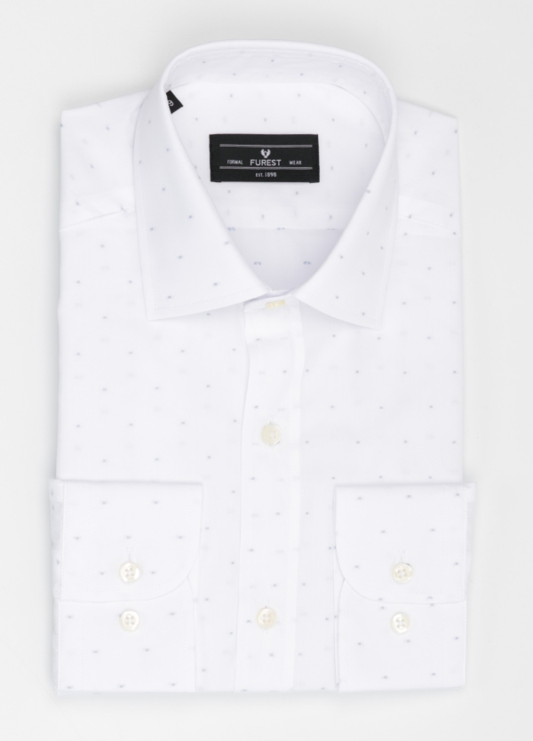 Camisa Formal Wear SLIM FIT cuello italiano modelo ROMA color blanco con micro dibujo color gris. 100% Algodón.