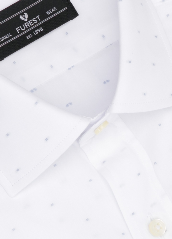 Camisa Formal Wear SLIM FIT cuello italiano modelo ROMA color blanco con micro dibujo color gris. 100% Algodón. - Ítem1