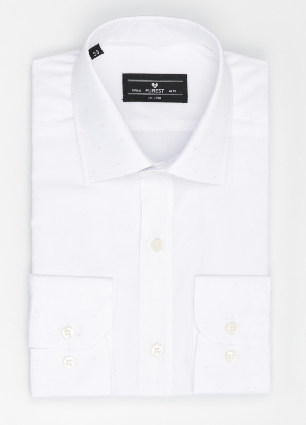 Camisa Formal Wear SLIM FIT cuello italiano modelo ROMA color blanco con micro dibujo color rosa. 100% Algodón.