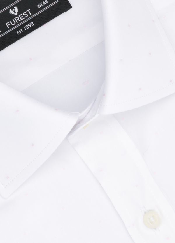 Camisa Formal Wear SLIM FIT cuello italiano modelo ROMA color blanco con micro dibujo color rosa. 100% Algodón. - Ítem1