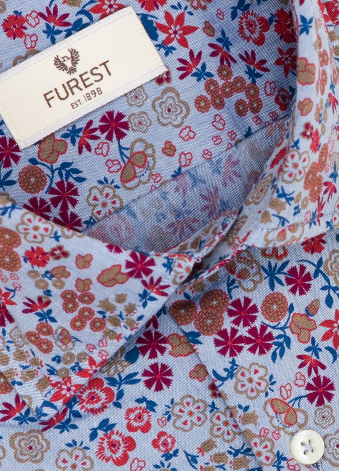 Camisa Leisure Wear SLIM FIT modelo PORTO dibujo floral fondo blanco. 100% Algodón. - Ítem4