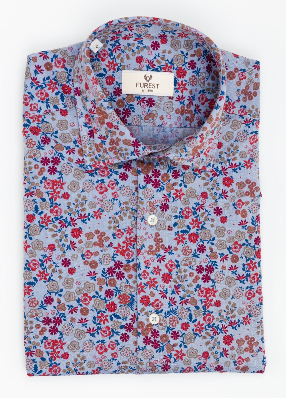 Camisa Leisure Wear SLIM FIT modelo PORTO dibujo floral fondo blanco. 100% Algodón. - Ítem2