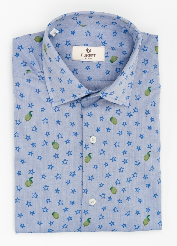 Camisa Leisure Wear SLIM FIT modelo PORTO color celeste estampado fantasia. 100% Algodón. - Ítem2