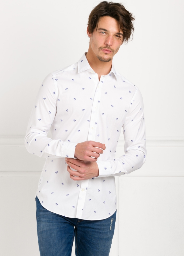 Camisa Leisure Wear SLIM FIT modelo PORTO color blanco estampado fantasia. 100% Algodón. - Ítem4