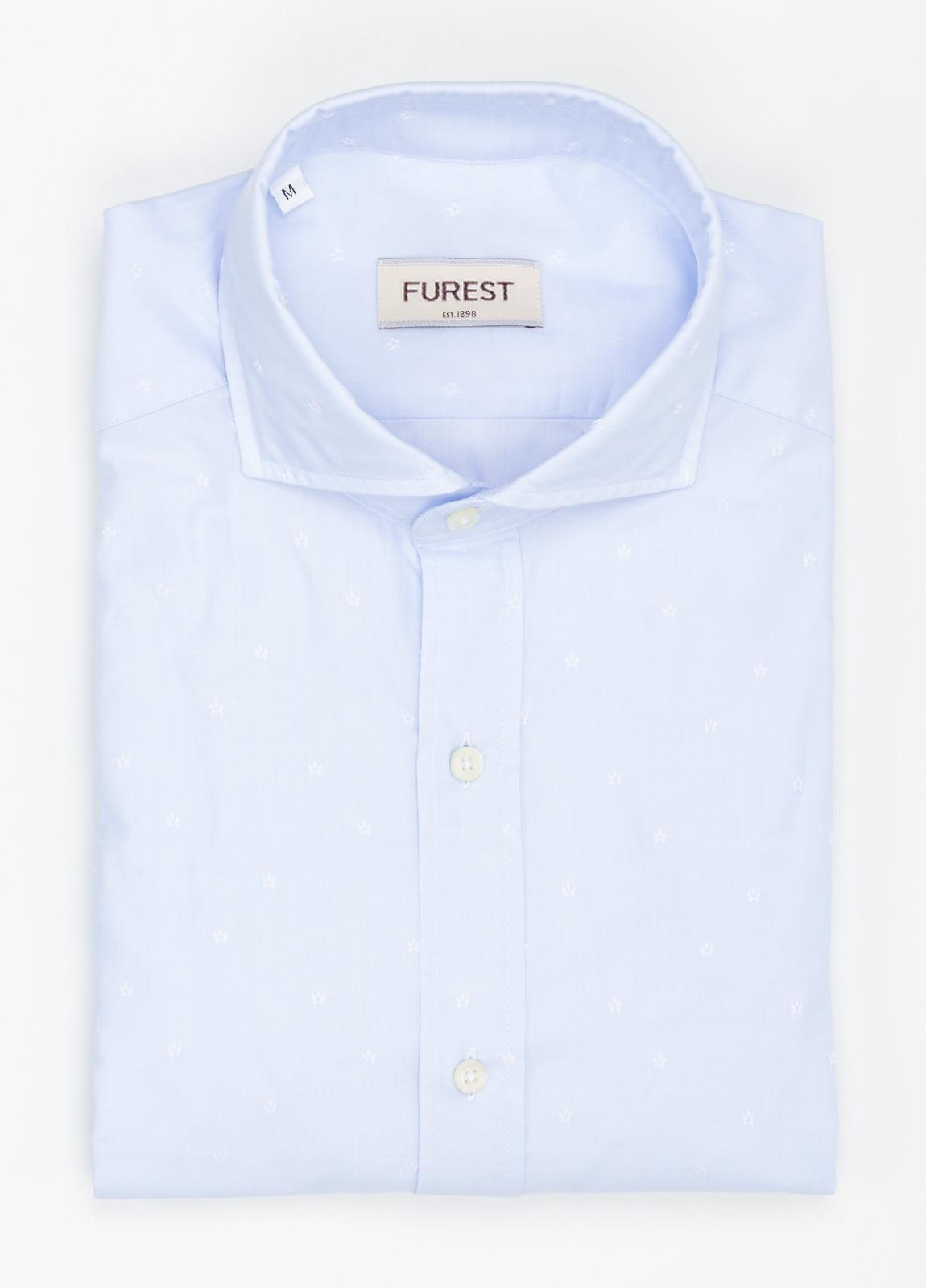 Camisa Leisure Wear SLIM FIT Modelo CAPRI estampado micro flor color azul celeste, 100% Algodón.