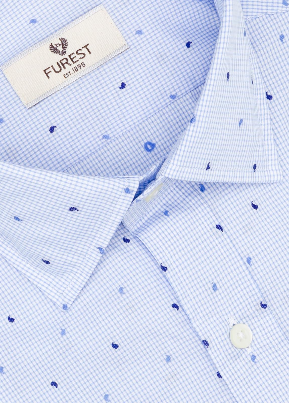 Camisa Leisure Wear SLIM FIT modelo PORTO microestampado color celeste. 100% Algodón. - Ítem2