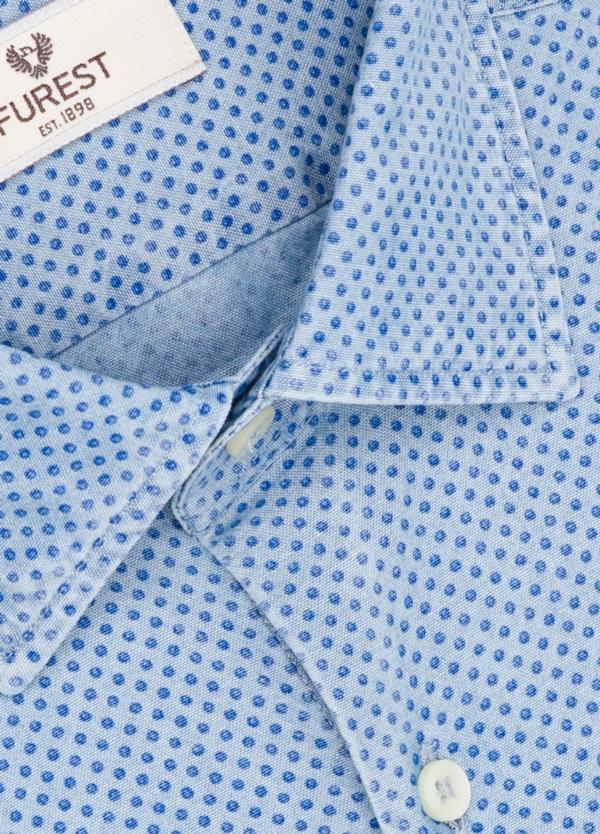 Camisa Leisure Wear SLIM FIT modelo PORTO estampado topito color azul. 100% Algodón. - Ítem1