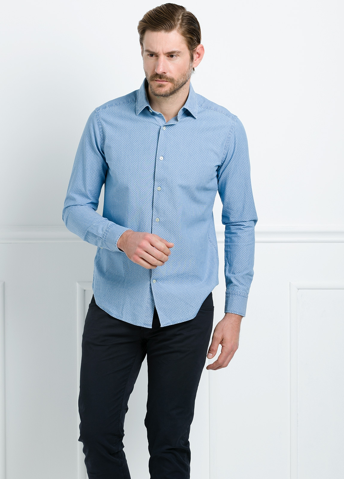 Camisa Leisure Wear SLIM FIT modelo PORTO estampado topito color azul. 100% Algodón. - Ítem2