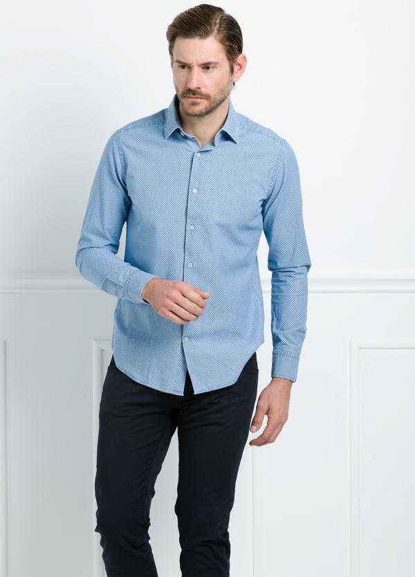 Camisa Leisure Wear SLIM FIT modelo PORTO estampado topito color azul. 100% Algodón. - Ítem2