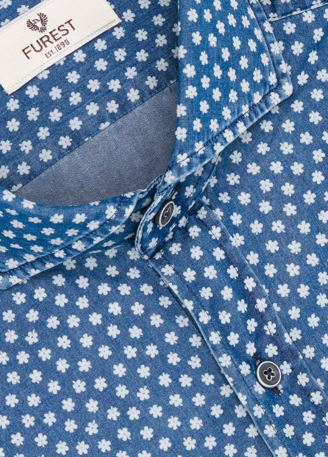 Camisa Leisure Wear SLIM FIT modelo CAPRI estampado flores color azul denim. 100% Algodón. - Ítem1