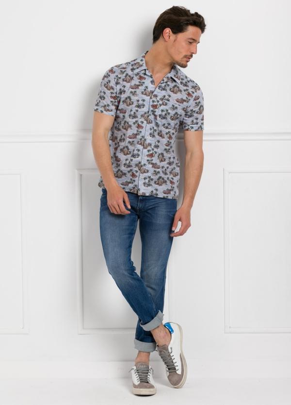Camisa Leisure Wear modelo HAWAI estampado fantasía color azul. 100% Algodón. - Ítem2