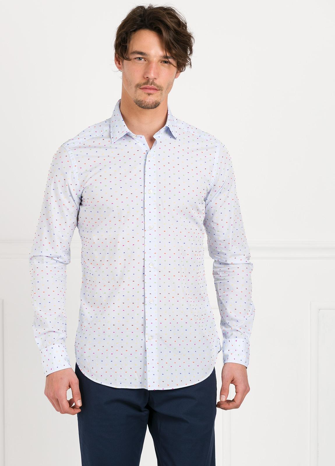 Camisa Leisure Wear SLIM FIT modelo PORTO color blanco estampado fantasia. 100% Algodón. - Ítem2