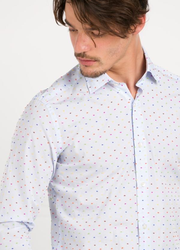 Camisa Leisure Wear SLIM FIT modelo PORTO color blanco estampado fantasia. 100% Algodón. - Ítem1