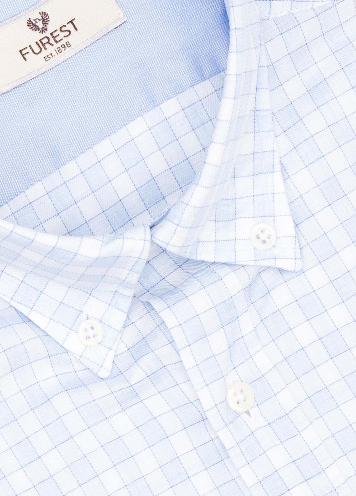 Camisa Leisure Wear REGULAR FIT Modelo BOTTON DOWN cuadros color azul celeste. 100% Algodón. - Ítem1