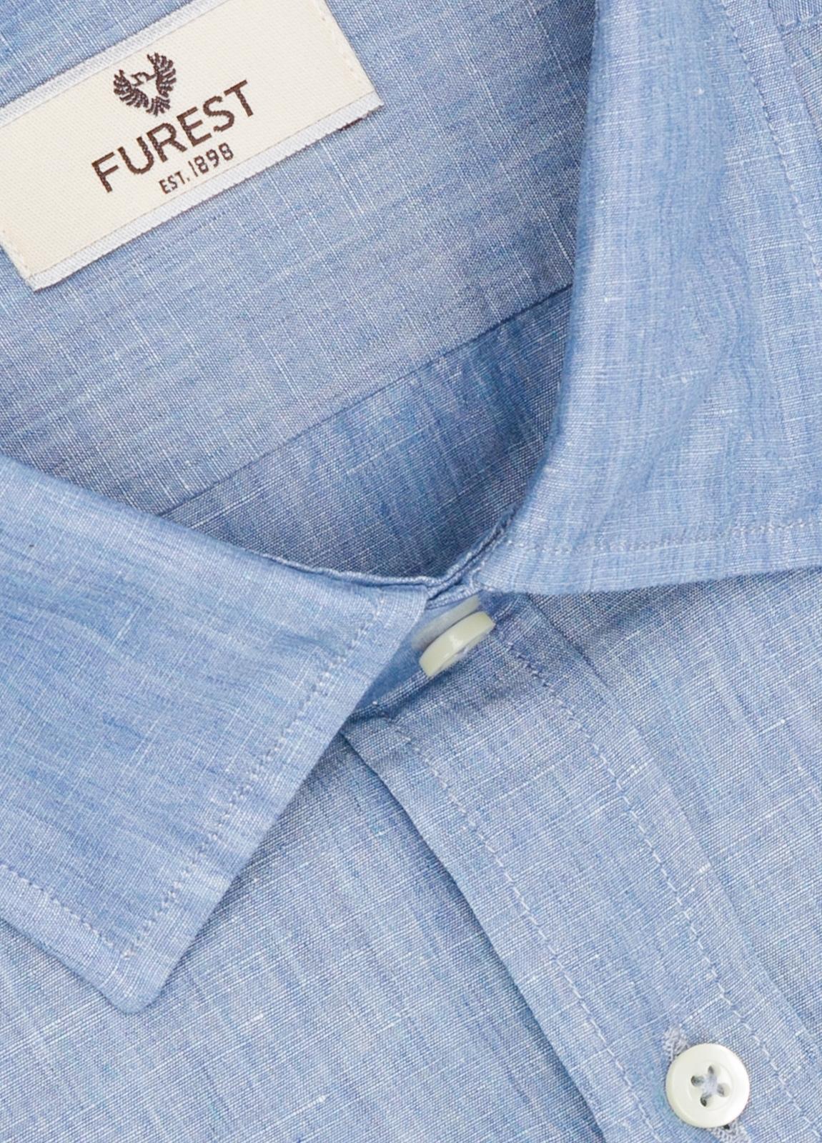 Camisa Leisure Wear SLIM FIT modelo PORTO diseño liso color azul. 100% Algodón. - Ítem1