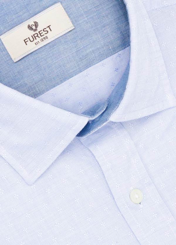 Camisa Leisure Wear SLIM FIT modelo PORTO micro estampado color celeste. 100% Algodón. - Ítem1