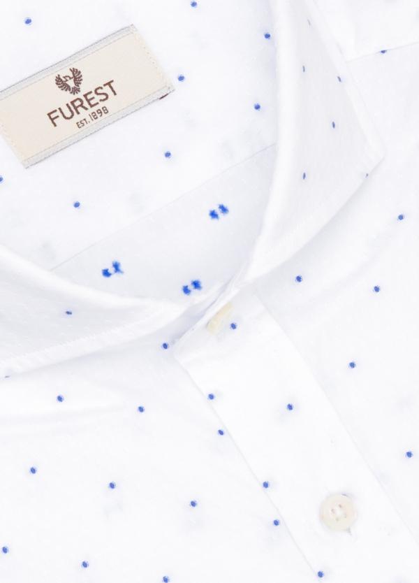 Camisa Leisure Wear SLIM FIT Modelo CAPRI estampado topito color azul celeste, 100% Algodón. - Ítem1