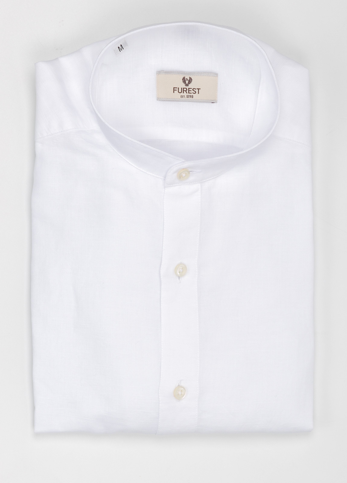 Camisa Leisure Wear SLIM FIT cuello MAO tejido liso textura color blanco, 100% Algodón.