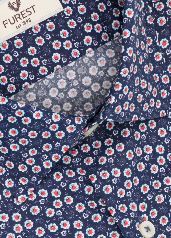 Camisa Leisure Wear SLIM FIT modelo PORTO estampado floral color azul marino. 100% Algodón. - Ítem1