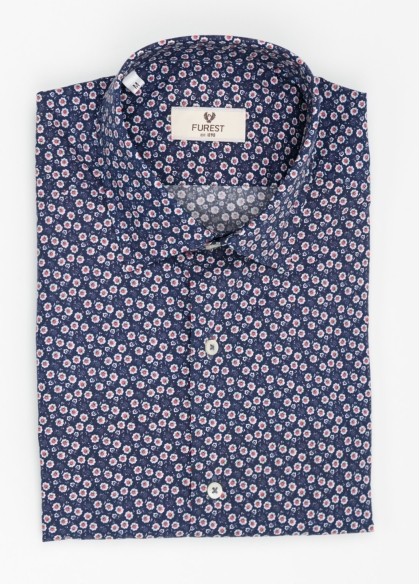 Camisa Leisure Wear SLIM FIT modelo PORTO estampado floral color azul marino. 100% Algodón. - Ítem2