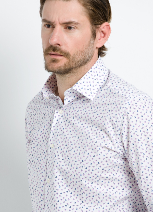 Camisa Leisure Wear REGULAR FIT modelo PORTO estampado floral color blanco. 100% Algodón. - Ítem4
