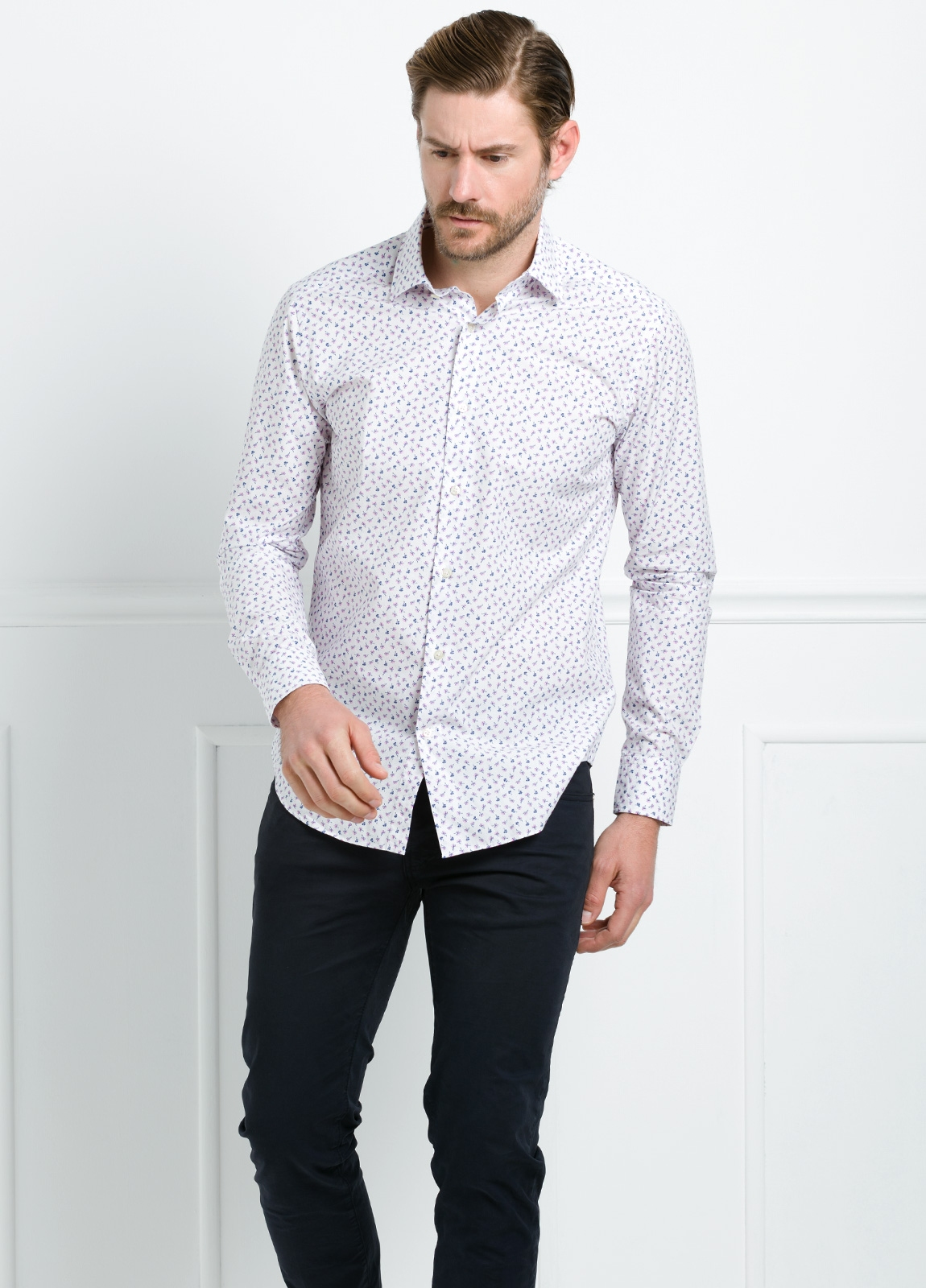 Camisa Leisure Wear REGULAR FIT modelo PORTO estampado floral color blanco. 100% Algodón. - Ítem2