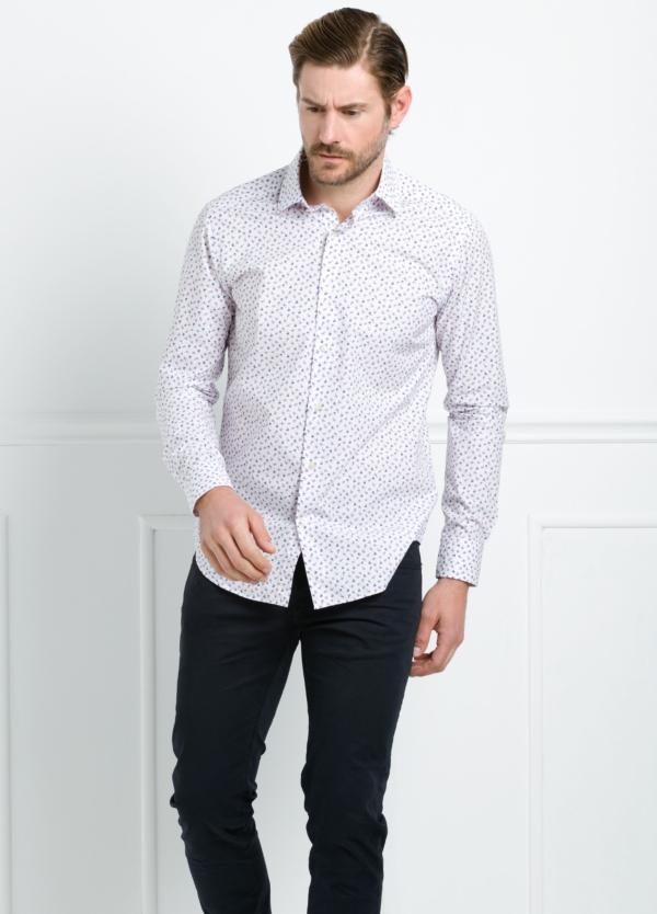 Camisa Leisure Wear REGULAR FIT modelo PORTO estampado floral color blanco. 100% Algodón. - Ítem2