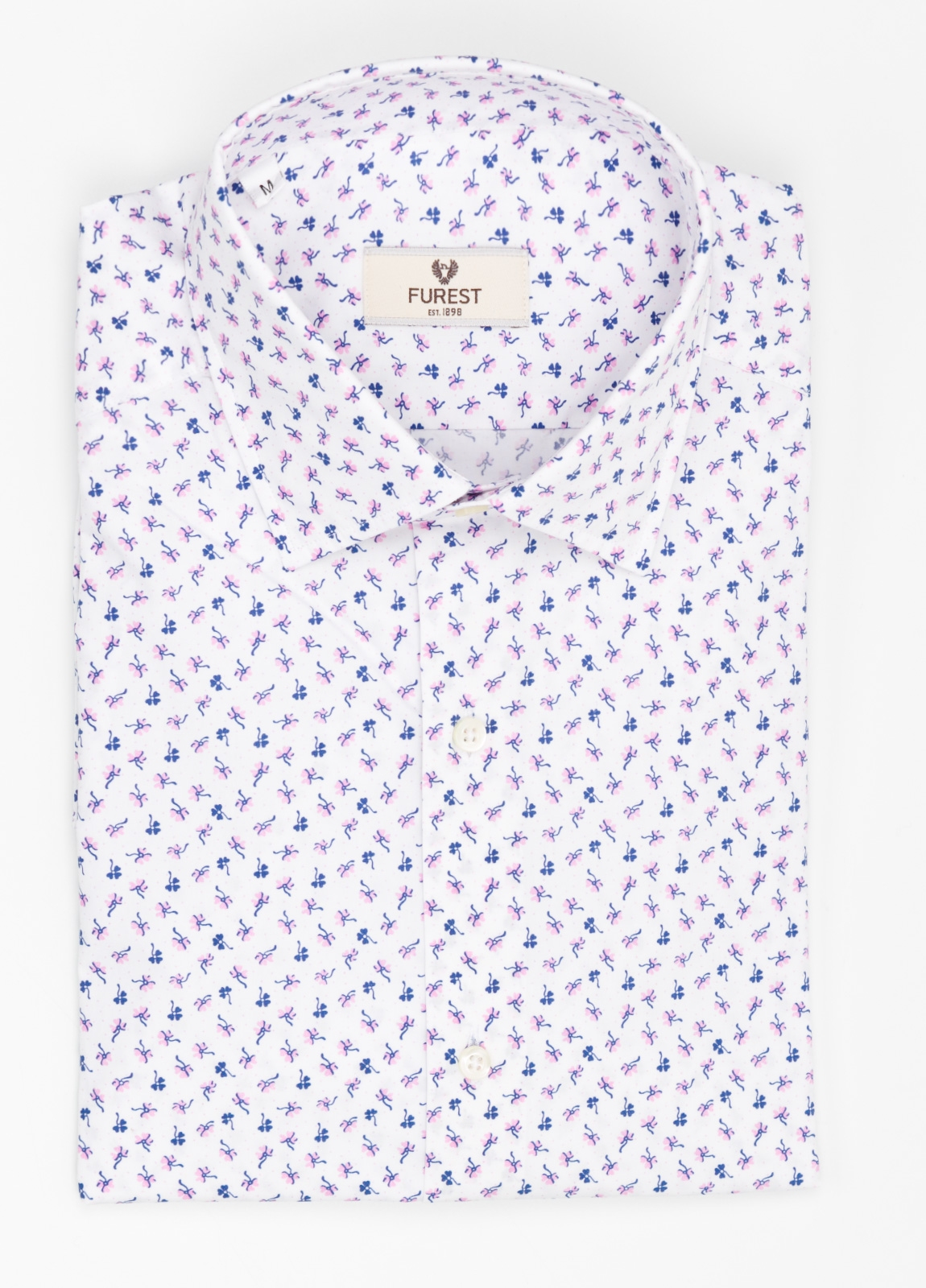 Camisa Leisure Wear REGULAR FIT modelo PORTO estampado floral color blanco. 100% Algodón.