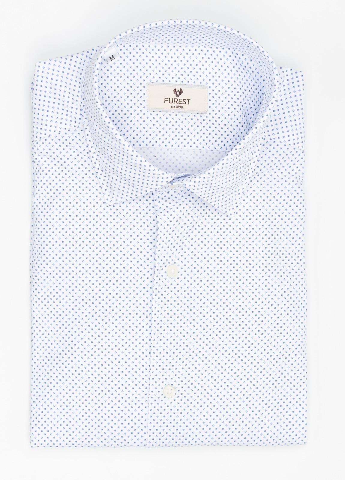 Camisa Leisure Wear SLIM FIT modelo PORTO estampado topitos color azul. 100% Algodón.