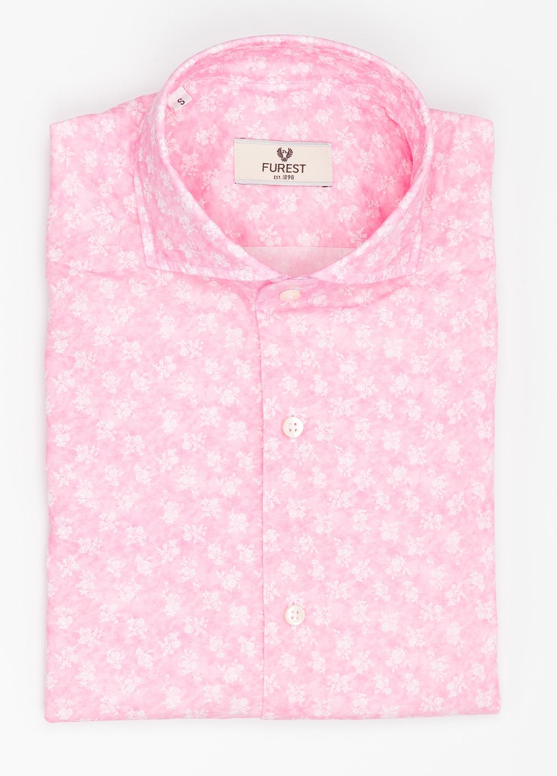Camisa Leisure Wear SLIM FIT Modelo CAPRI color rosa con estampado floral. 100% Algodón.