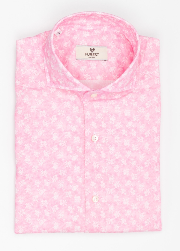 Camisa Leisure Wear SLIM FIT Modelo CAPRI color rosa con estampado floral. 100% Algodón.