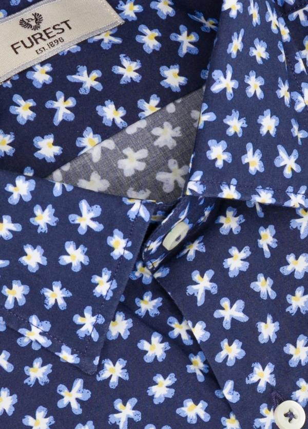Camisa Leisure Wear SLIM FIT modelo PORTO estampado flores color azul. 100% Algodón. - Ítem1