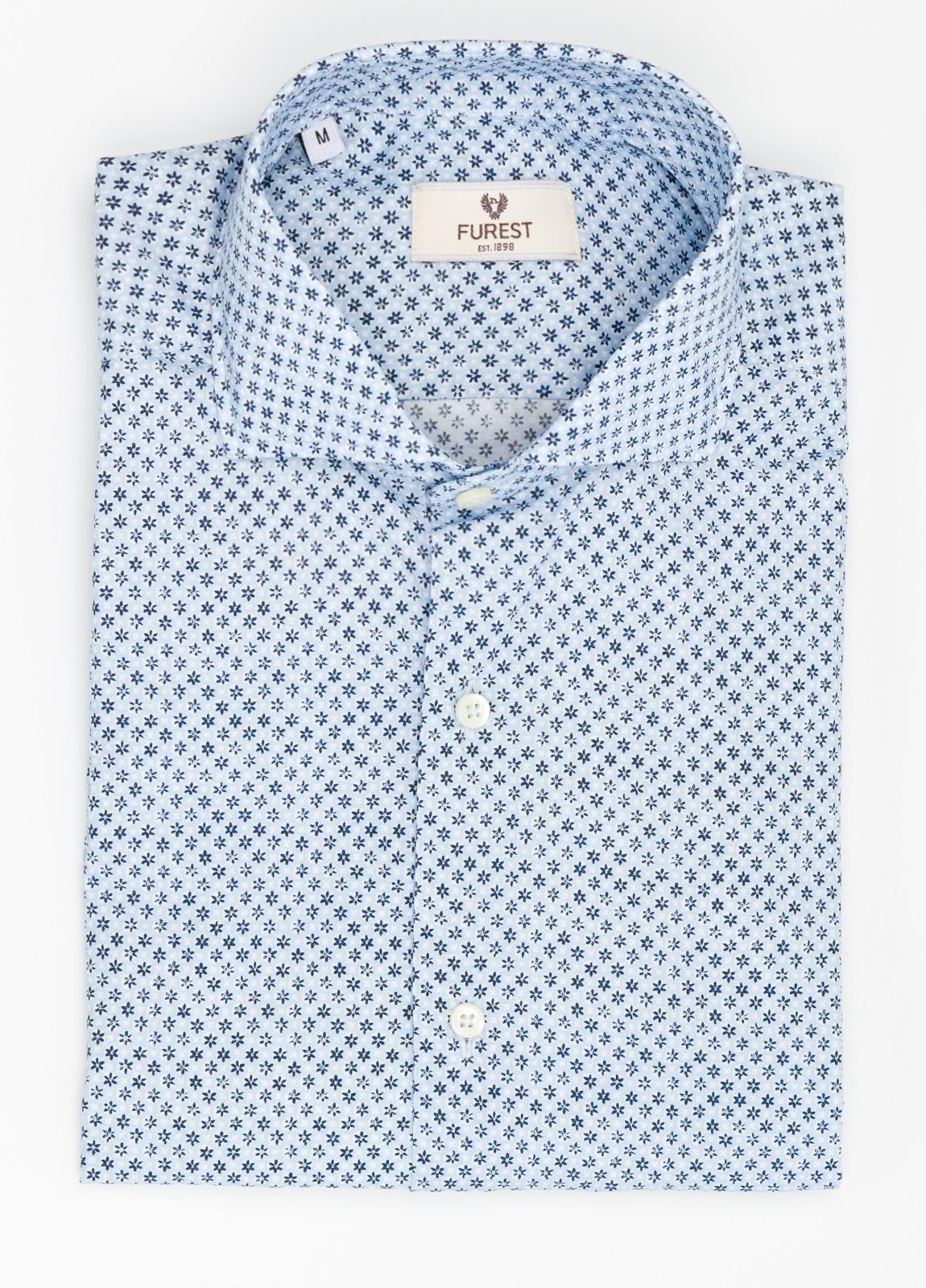 Camisa Leisure Wear SLIM FIT Modelo CAPRI estampado micro flor color azul, 100% Algodón.