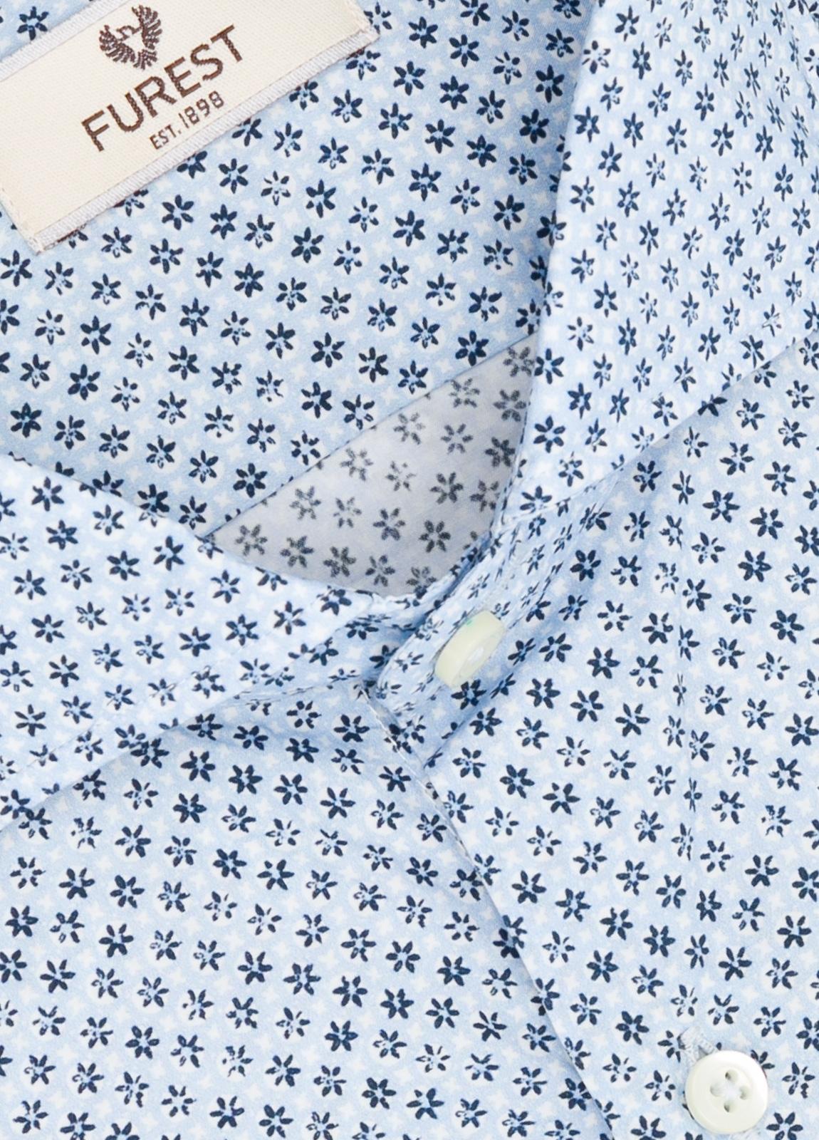 Camisa Leisure Wear SLIM FIT Modelo CAPRI estampado micro flor color azul, 100% Algodón. - Ítem1