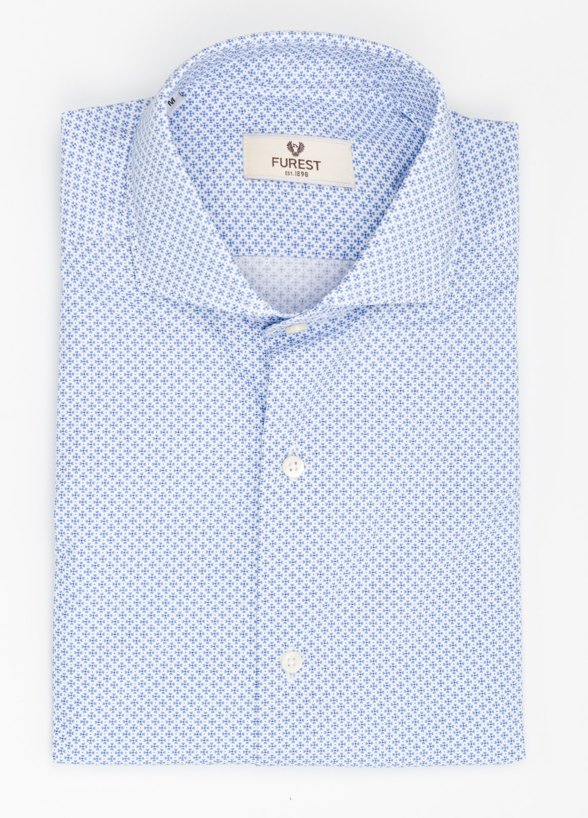 Camisa Leisure Wear SLIM FIT Modelo CAPRI estampado micro flor color celeste. 100% Algodón.