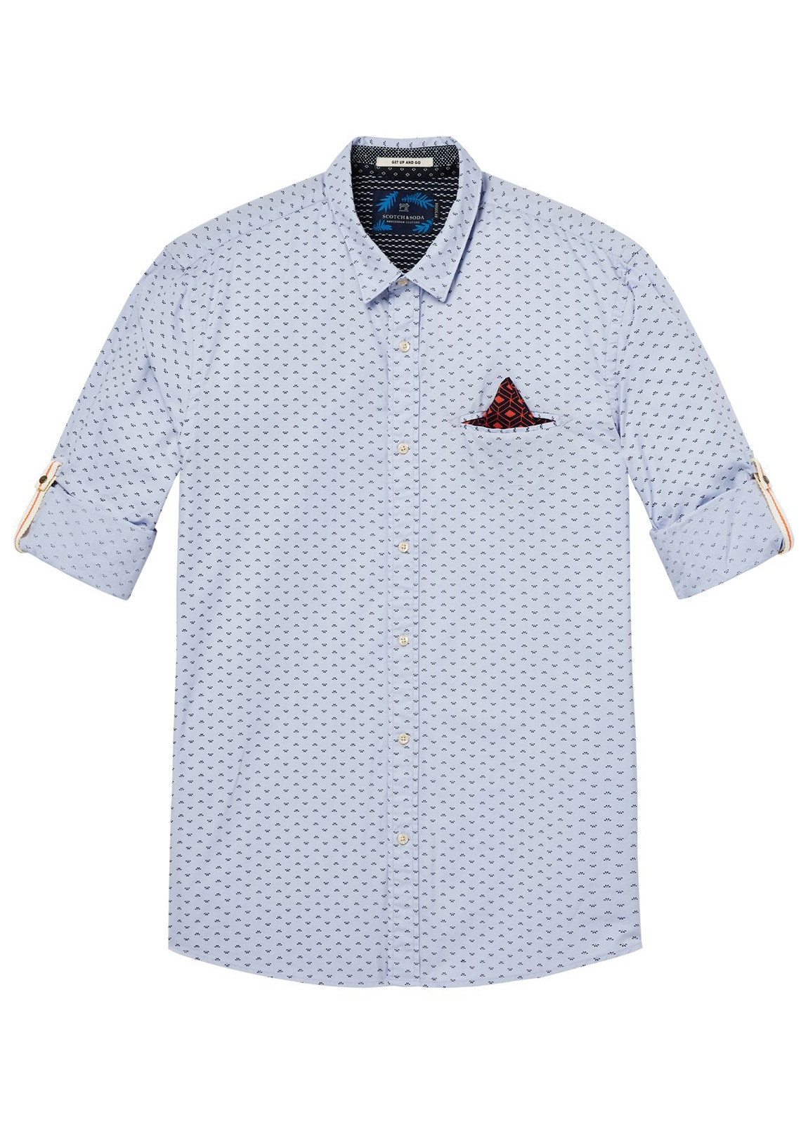 Camisa REGULAR FIT, cuello clasico de dibujo color azul celeste. Pañuelo de bolsillo fijo y presillas en mangas.100% Algodón. - Ítem4