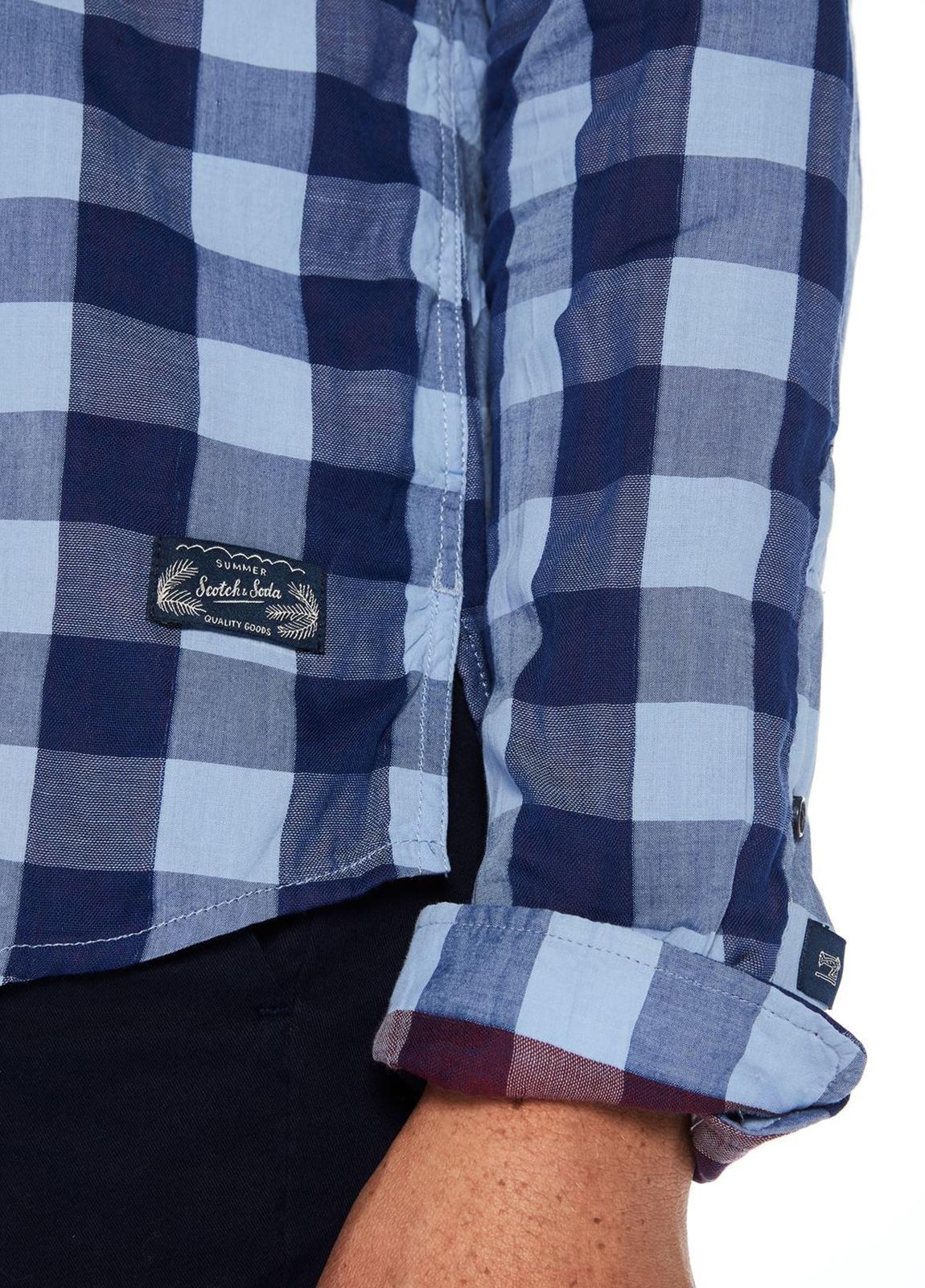 Camisa regular fit, cuadros en azul. Algodón. - Ítem1