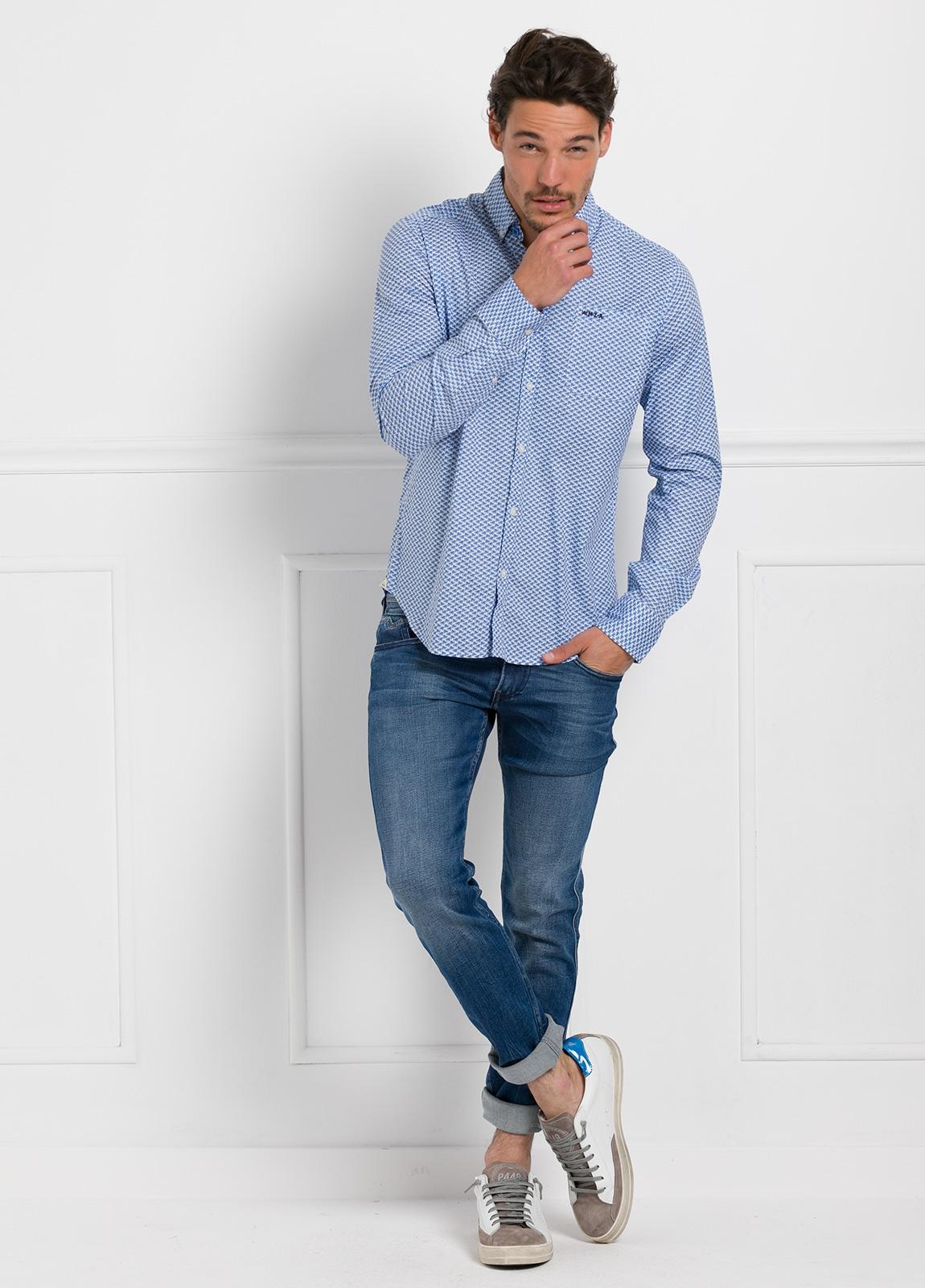 Camisa Sport dibujo color azul, 100% Algodón. - Ítem1