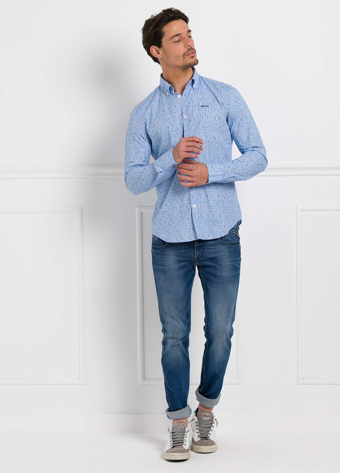 Camisa Sport dibujo color azul, 100% Algodón.