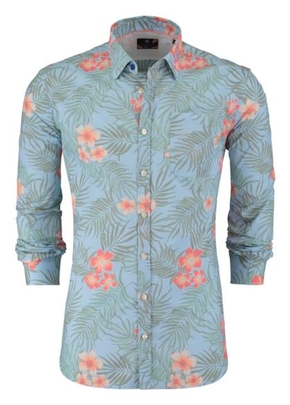 Camisa Sport dibujo flores color azul, 100% Algodón. - Ítem2