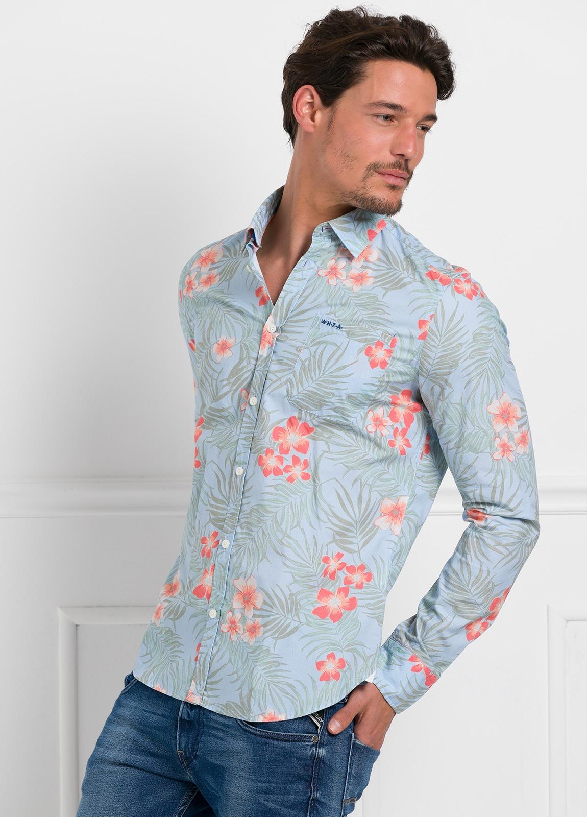 Camisa Sport dibujo flores color azul, 100% Algodón.