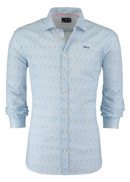 Camisa Sport dibujo color azul celeste, 100% Algodón. - Ítem2