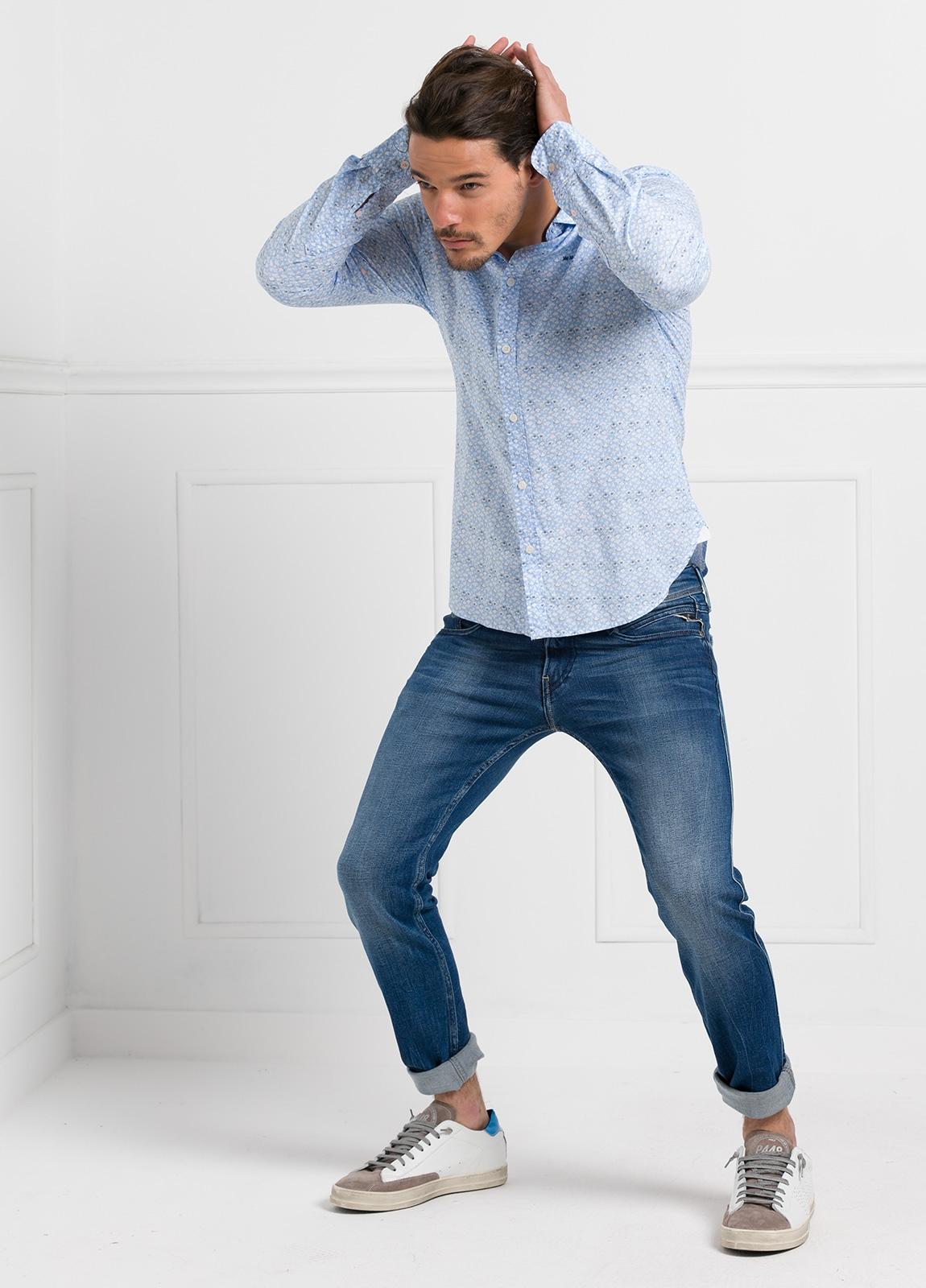 Camisa Sport dibujo color azul celeste, 100% Algodón. - Ítem1