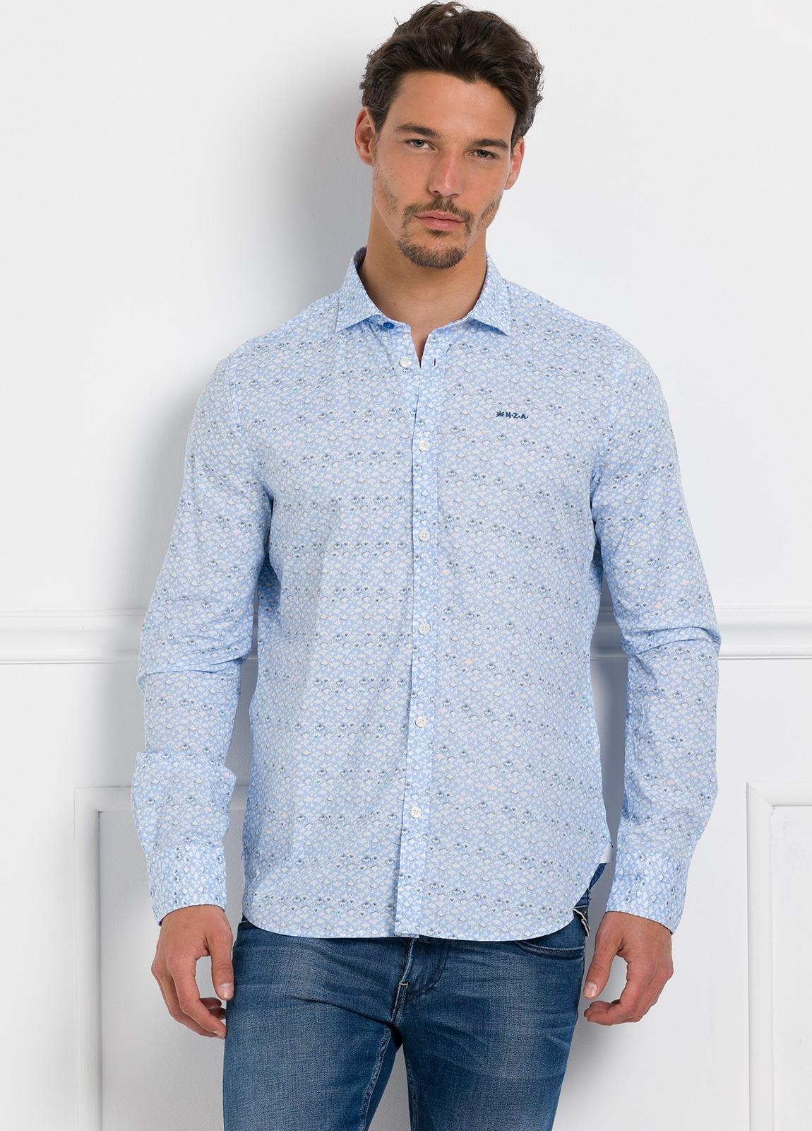 Camisa Sport dibujo color azul celeste, 100% Algodón.
