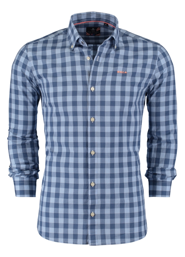 Camisa Sport cuadros color azul, 100% Algodón.