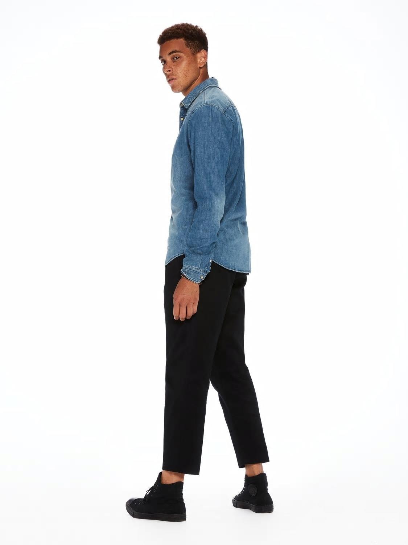 Camisa tejana, regular fit con efecto bolsillo arrancado. 100% algodón - Ítem1