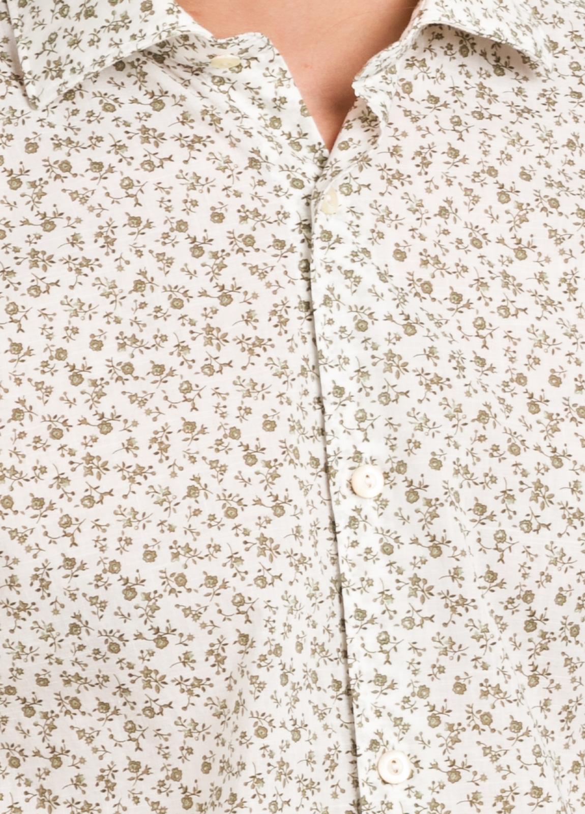 Camisa sport SLIM FIT con estampado floral color beige. 100% Algodón. - Ítem1