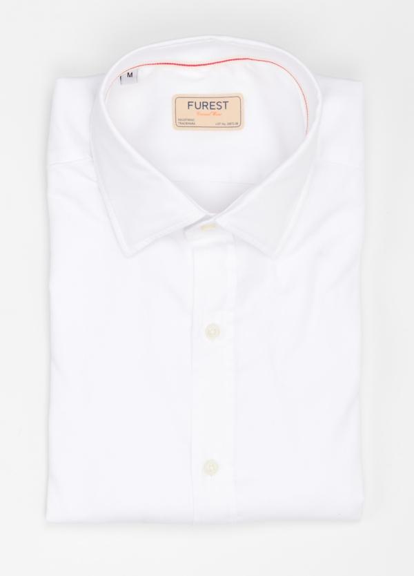 Camisa Casual Wear SLIM FIT Modelo PORTO diseño liso esterilla color blanco. 100% Algodón.