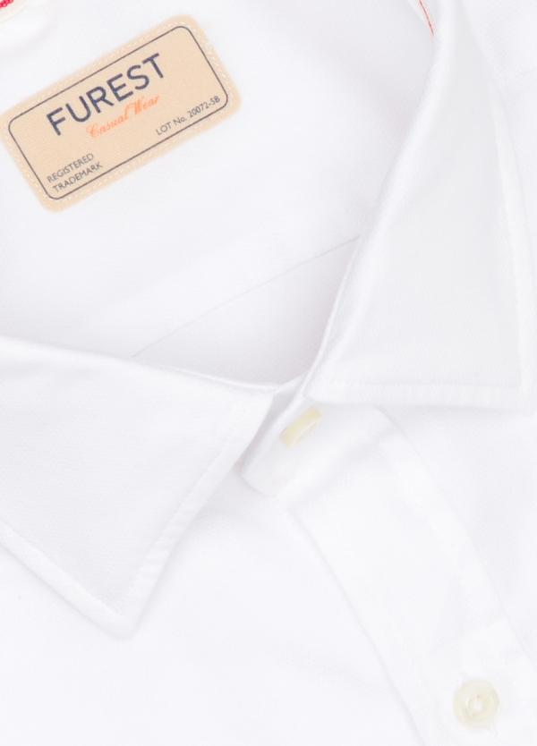 Camisa Casual Wear SLIM FIT Modelo PORTO diseño liso esterilla color blanco. 100% Algodón. - Ítem1